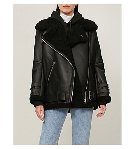 ACNE STUDIOS Velocite shearling and leather aviator jacket (Black+/+black