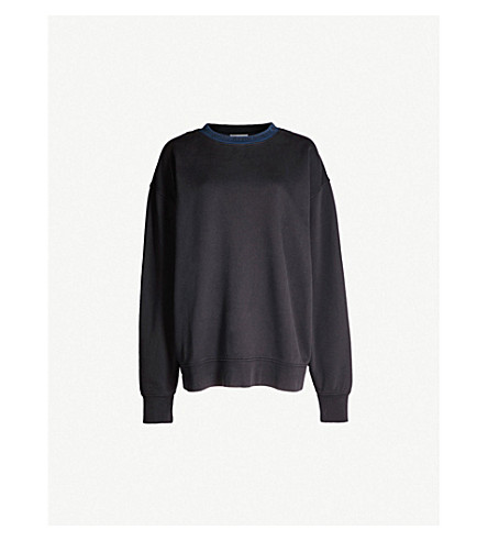 ACNE STUDIOS 雅娜标志打印平纹针织棉卫衣 (黑色