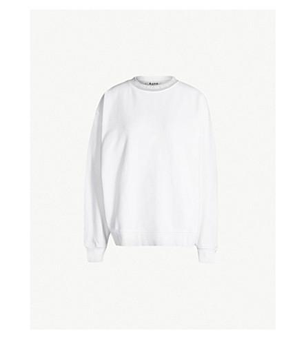 ACNE STUDIOS 雅娜徽标打印平纹针织棉卫衣 (白色