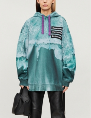 Farrin ocean-print cotton-jersey hoody
