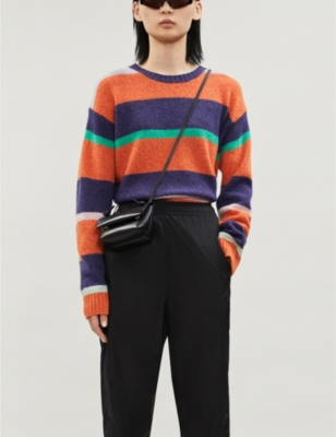Boat-neck striped wool jumper