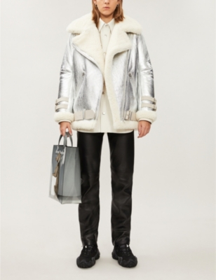 Velocite slim-fit shearling and leather jacket