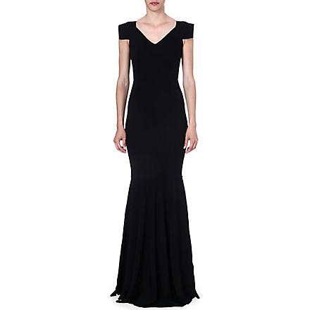 ROLAND MOURET Bodas cap-sleeved gown (Black