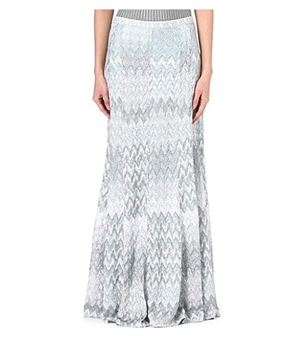 MISSONI Knitted maxi skirt (Silver