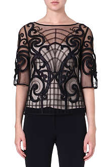 TEMPERLEY LONDON Cartroux sheer embroidered top
