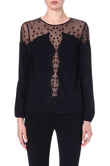TEMPERLEY LONDON Embroidered sheer-panel top