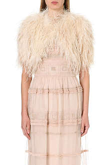 TEMPERLEY LONDON Short-sleeved feather shrug