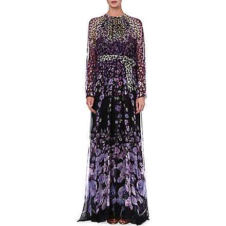 TEMPERLEY LONDON Caped-back silk maxi dress (Lilac/black