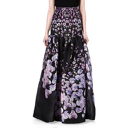 TEMPERLEY LONDON Floral-print silk maxi skirt (Lilac/black