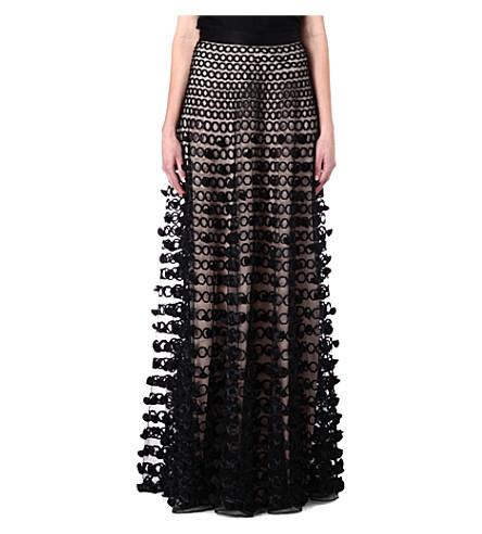 TEMPERLEY LONDON Floor length skirt (Black/nude