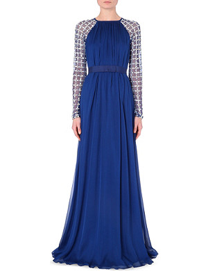 TEMPERLEY LONDON Lattice-embellished satin dress