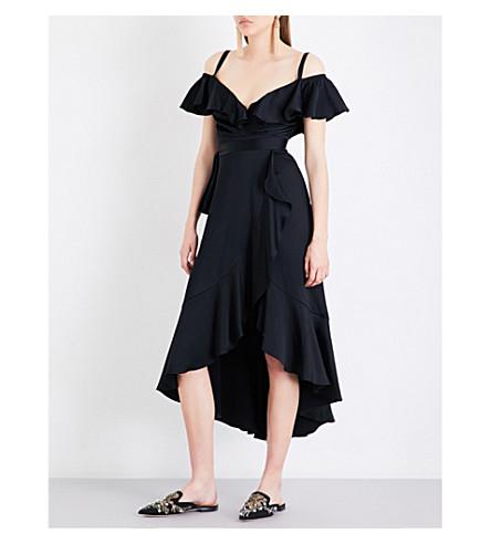 TEMPERLEY LONDON Carnation cold-shoulder crepe dress (Black
