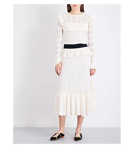 TEMPERLEY LONDON Cypre pointelle-knit midi dress (Almond