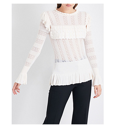 TEMPERLEY LONDON Cypre pointelle-knit jumper (Almond