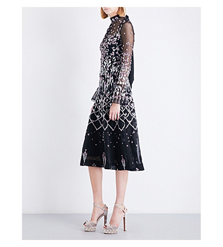 TEMPERLEY LONDON Glen trumpet-sleeve embellished tulle dress (Black+mix