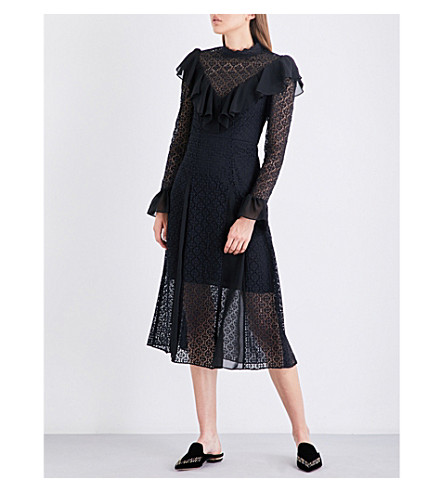 TEMPERLEY LONDON Prairie high-neck lace dress (Black