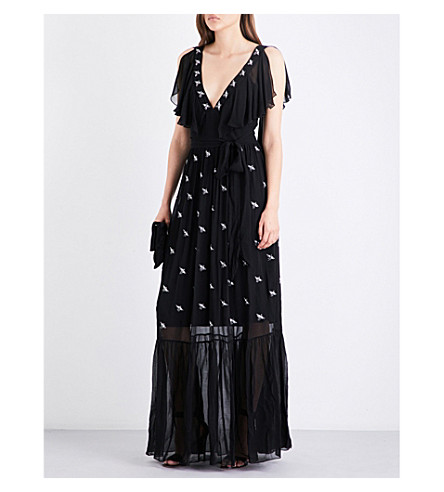 TEMPERLEY LONDON Starling sleeveless chiffon gown (Black