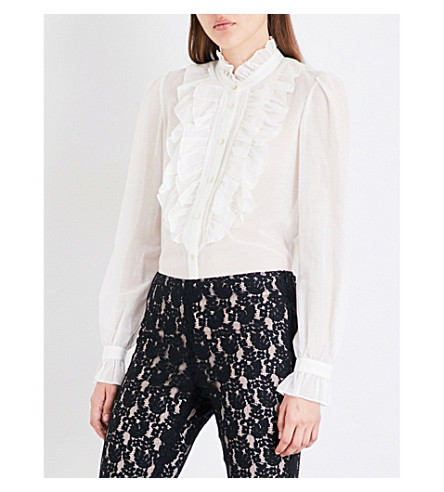 TEMPERLEY LONDON Ruffle-detailed cotton and silk-blend shirt (White