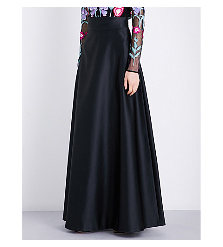 TEMPERLEY LONDON Waterlily satin maxi skirt (Black