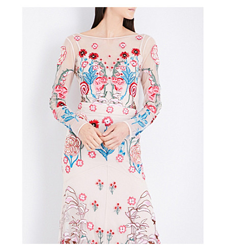 TEMPERLEY LONDON Woodland floral-embroidered mesh top (Almond+mix