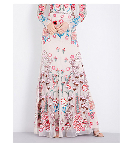 TEMPERLEY LONDON Woodland floral-embroidered mesh skirt (Almond+mix