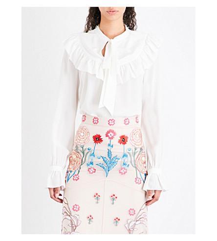 TEMPERLEY LONDON Ruffled silk crepe-de-chine blouse (White