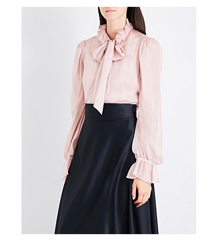 TEMPERLEY LONDON Frilled-collar silk-voile shirt (Rose+quartz
