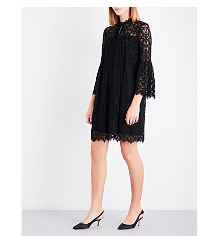 TEMPERLEY LONDON Eclipse floral-lace mini dress (Black