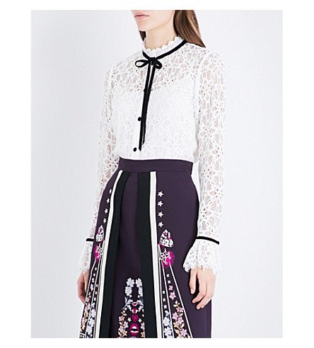TEMPERLEY LONDON Eclipse collared lace top (White