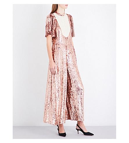 TEMPERLEY LONDON Filigree wide-leg sequinned jumpsuit (Rose+quartz