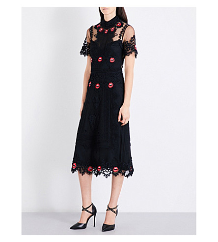 TEMPERLEY LONDON Lip and leaf-embroidered tulle dress (Black+mix