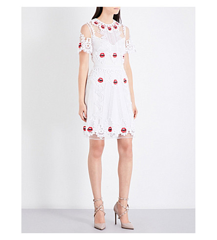 TEMPERLEY LONDON Leaf tulle mini dress (White+mix