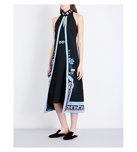 TEMPERLEY LONDON Parchment embroidered crepe dress (Black+mix