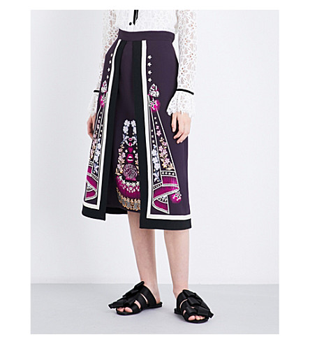 TEMPERLEY LONDON Parchment embroidered crepe skirt (Aurbergine+mix