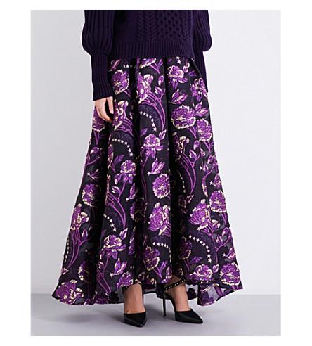 TEMPERLEY LONDON Elsa high-rise cloqué maxi skirt (Aubergine