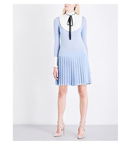 TEMPERLEY LONDON Sigmund collar wool-blend dress (Periwinkle