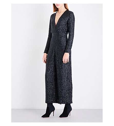 TEMPERLEY LONDON Tiara wide-leg sequinned jumpsuit (Black