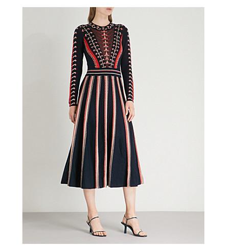 TEMPERLEY LONDON Ida 印刷羊毛迷笛连衣裙 (靛蓝 + 混合