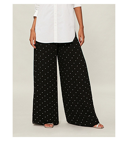 TEMPERLEY LONDON Twinkle crystal-embellished wide high-rise woven trousers (Black