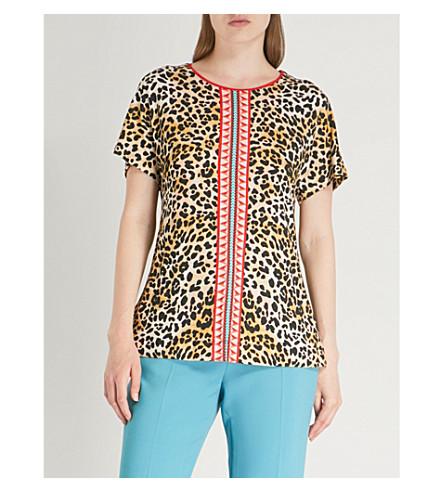 TEMPERLEY LONDON 豹纹平纹针织面料 T 恤 (豹 + 混合
