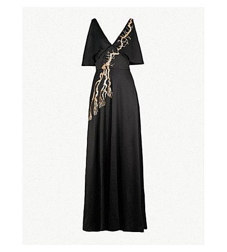 TEMPERLEY LONDON Alchemy cold-shoulder satin maxi dress (Black
