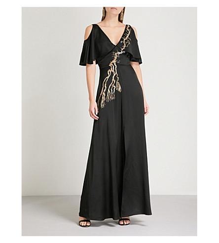 TEMPERLEY LONDON Alchemy cold-shoulder satin maxi dress (Black