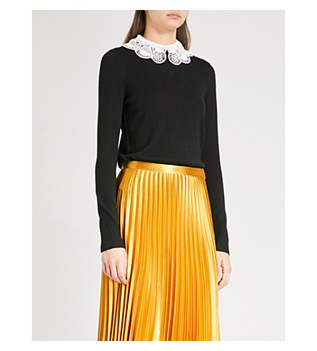 TEMPERLEY LONDON Bliss embroidered-collar wool and cotton-blend jumper (Black