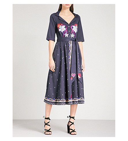TEMPERLEY LONDON Divine embroidered cotton-poplin wrap dress (Midnight