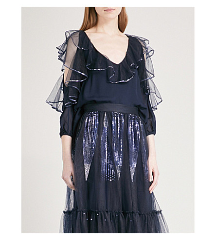 TEMPERLEY LONDON Mineral V-neck crepe and mesh top (Midnight