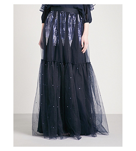 TEMPERLEY LONDON Mineral sequin-embellished mesh maxi skirt (Midnight