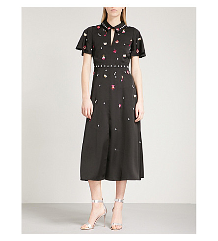 TEMPERLEY LONDON Saturn Collar crepe midi dress (Black