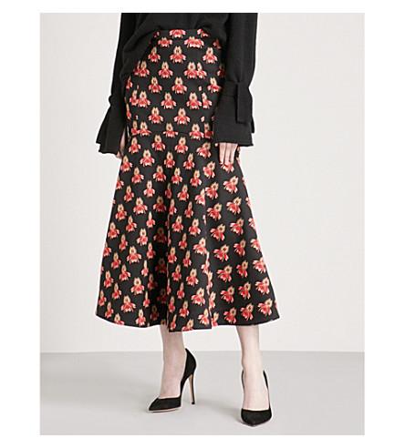 TEMPERLEY LONDON Jupiter floral-jacquard midi skirt (Midnight