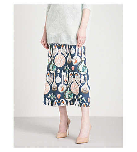 TEMPERLEY LONDON Love Potion high-rise crepe midi skirt (Midnight