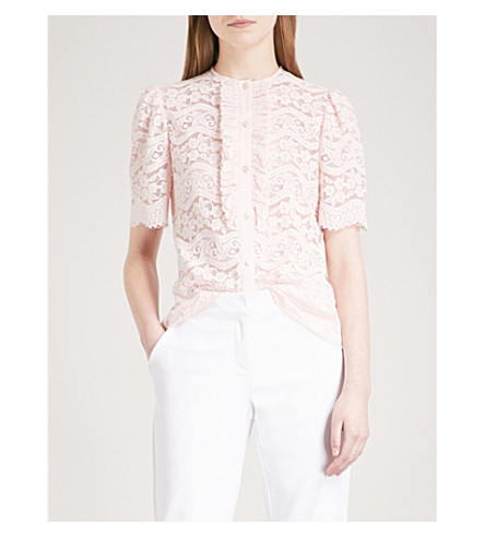 TEMPERLEY LONDON Lunar ruffled-trim lace top (Shell